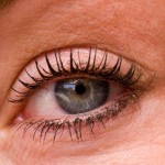 Closeup of a 33 year old womans eye with makeup